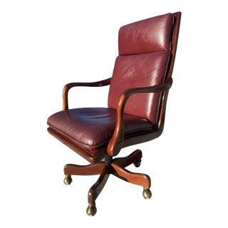 Vintage Hancock & Moore Swivel-Tilt Mahogany Gooseneck Arm High-Back Leather Executive Chair For Sale