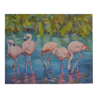 """""""Fab Five"""" Flamingos Oil Painting"""