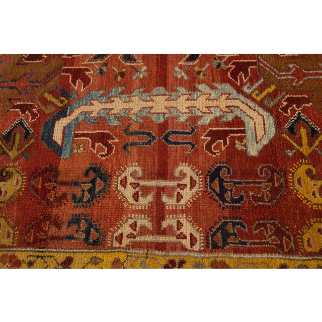 "Orange Vintage Persian Tribal Bakshaish Rug, 7'6"" X 10'5"" For Sale - Image 8 of 10"