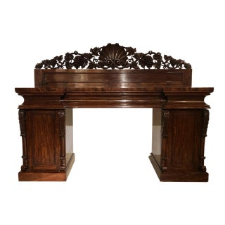 Antique Richly Carved Flamed Mahogany Sideboard, Circa 1840. For Sale