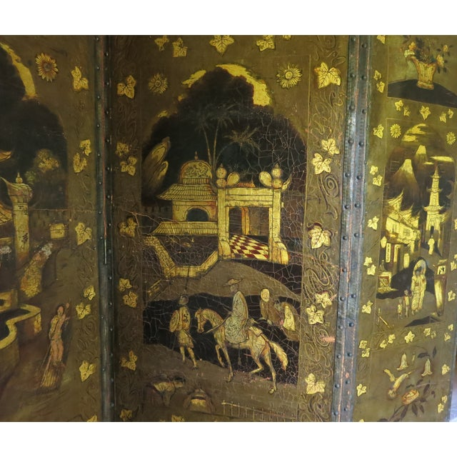 19th Century Antique Leather Screen Embossed and Gilded For Sale - Image 4 of 8