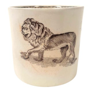 Staffordshire Child's Mug Decorated With a Striding Lion For Sale
