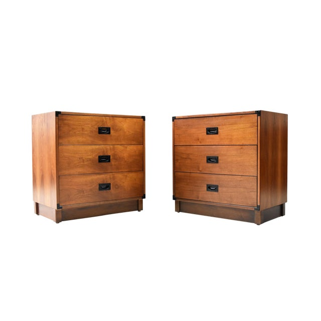 Mid- Century Campaign Style Chests by Drexel - a Pair For Sale
