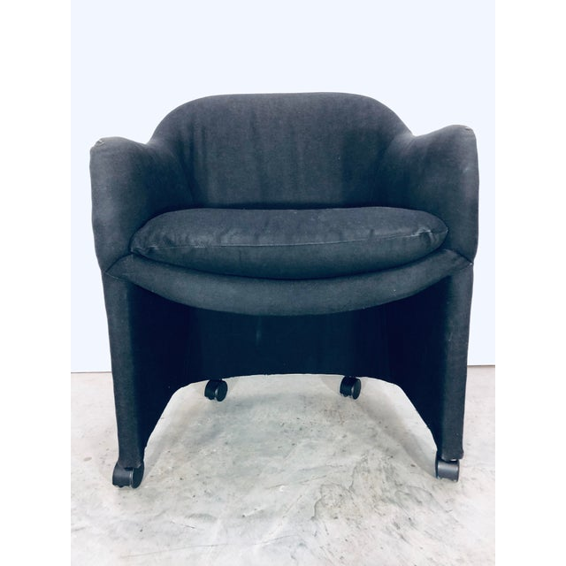 Thayer Coggin Black Denim Dining Arm Chairs- a Pair For Sale - Image 10 of 13