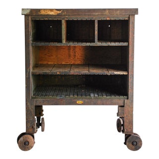 Vintage Industrial Rolling Factory Cart For Sale