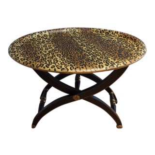 1980s Contemporary Sarreid Animal Print Tray Table For Sale