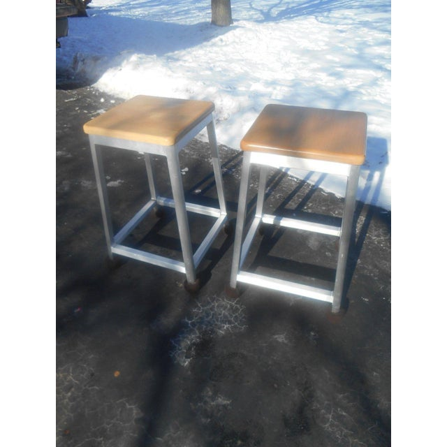 Industrial Brushed Aluminum Bar Stools - A Pair For Sale - Image 3 of 6