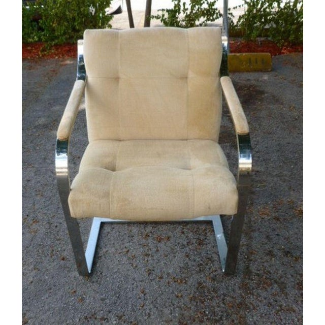 Mid-Century Modern 1970's Mid-Century Modern Brueton Heavy Thick Chromed Steel Arm Chairs - Set of 4 For Sale - Image 3 of 11