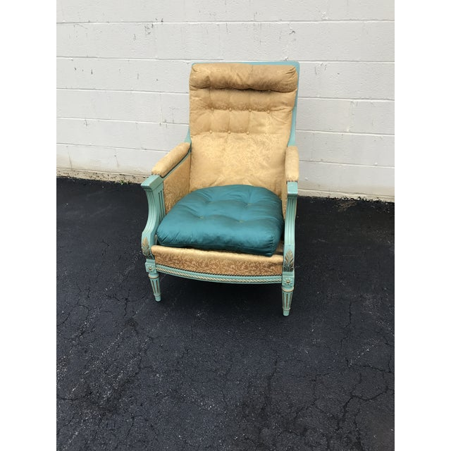 Late 20th Century Antique Victorian Turquoise and Gold Upholstered Chair For Sale - Image 5 of 8