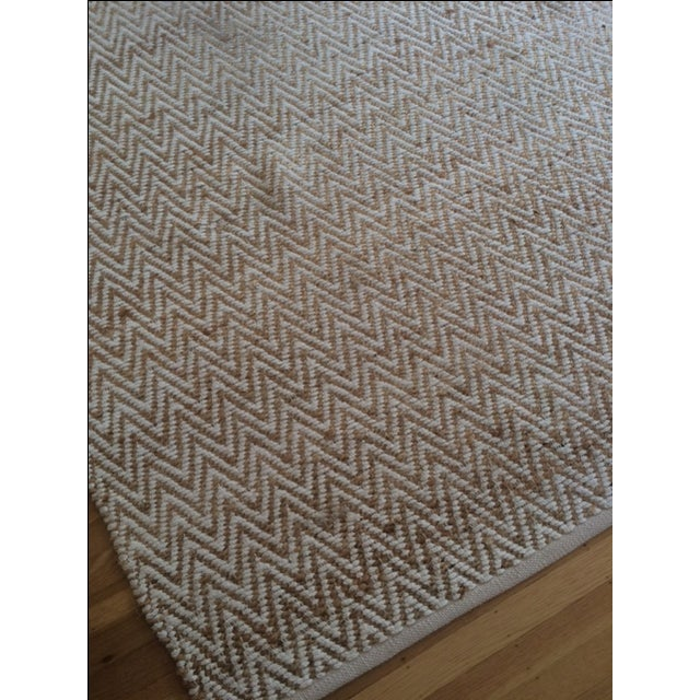 Chevron Rug in Beige and White - 9′ × 12′ - Image 3 of 9