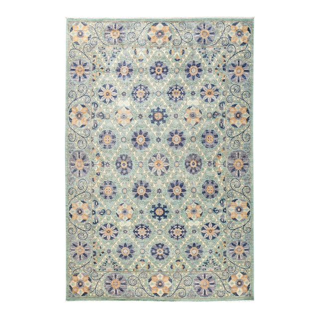 """Modern Suzani Style Blue & Purple Hand-Knotted Wool Rug- 6' 2"""" X 9' 3"""" For Sale - Image 4 of 4"""