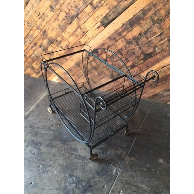 1940's Salterini Wrought Iron Rolling Outdoor Bar Serving Cart - Image 5 of 7