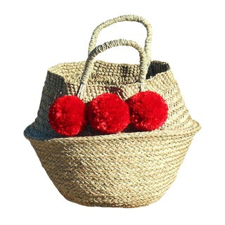 Balinese Red Pom Pom Woven Belly Basket