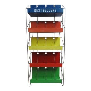 Vintage Chrome Multicolor Book Rack For Sale