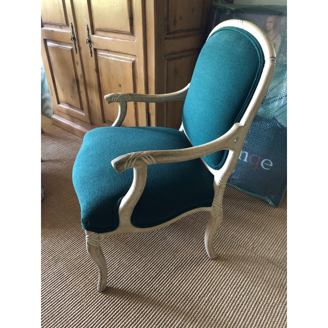 """Contemporary Wood Frame """"twig-open arm"""" French Bergere Chairs (2). Popular style for J.Robert Scott. White wash painted..."""
