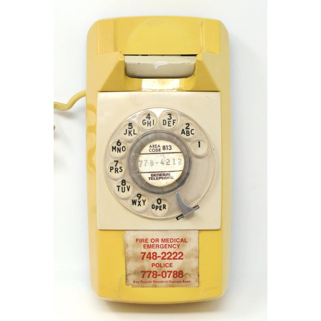 Vintage 1976 Starlite Yellow Rotary Wall Phone For Sale - Image 4 of 12