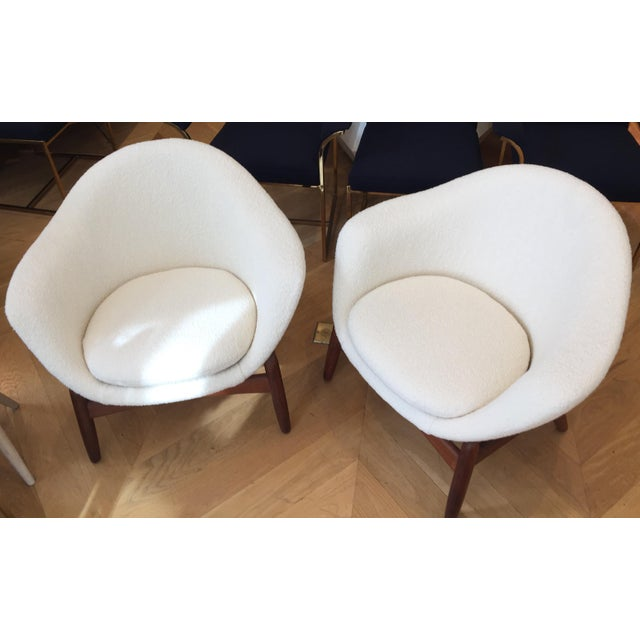 Gorgeous pair of Ib Kofod Larsen Chairs, reupholstered in cream wool fabric. Very rare 'Pot' lounge chairs , mid century...
