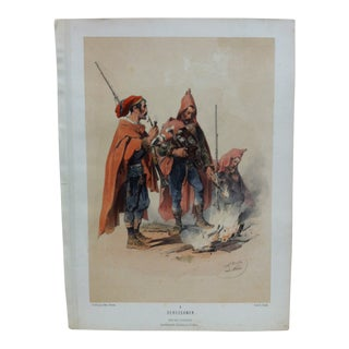 "Mid 19th Century Antique Josef Heicke ""Seressaner No. 4"" Hand-Colored Print For Sale"