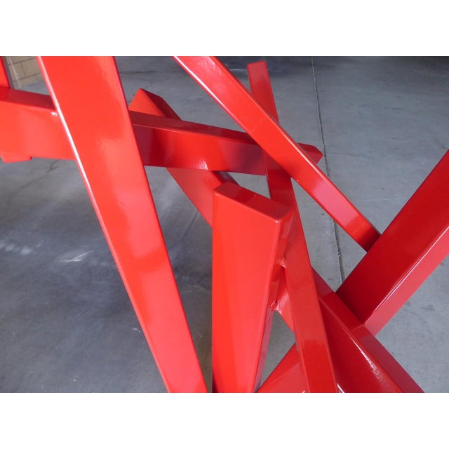 """Red """"Tropic of Capricorn"""" a Contemporary Abstract Sculpture by American Artist Joey Vaiasuso For Sale - Image 8 of 13"""