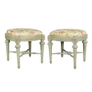 Pair of Swedish Neoclassic Painted Footstools For Sale