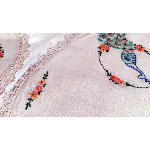 Vintage Peacock Embroidered Ecru Doilies - S/3 - Image 6 of 8