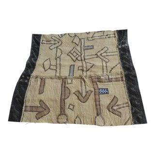 Vintage Natural and Black African Applique Kuba Applique Textile For Sale