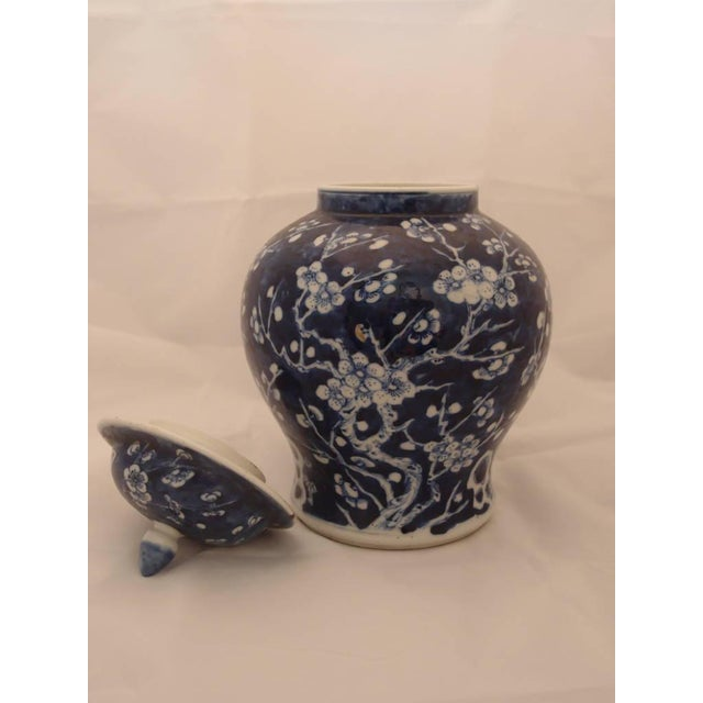 Asian Pair of Blue Porcelain Vases For Sale - Image 3 of 8