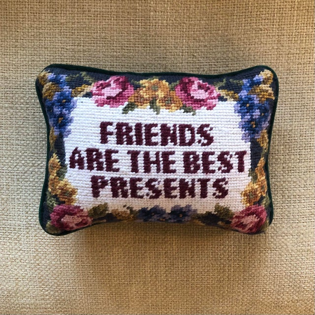 """Traditional """"Friends Are the Best Presents"""" Needlepoint Pillow For Sale - Image 3 of 3"""