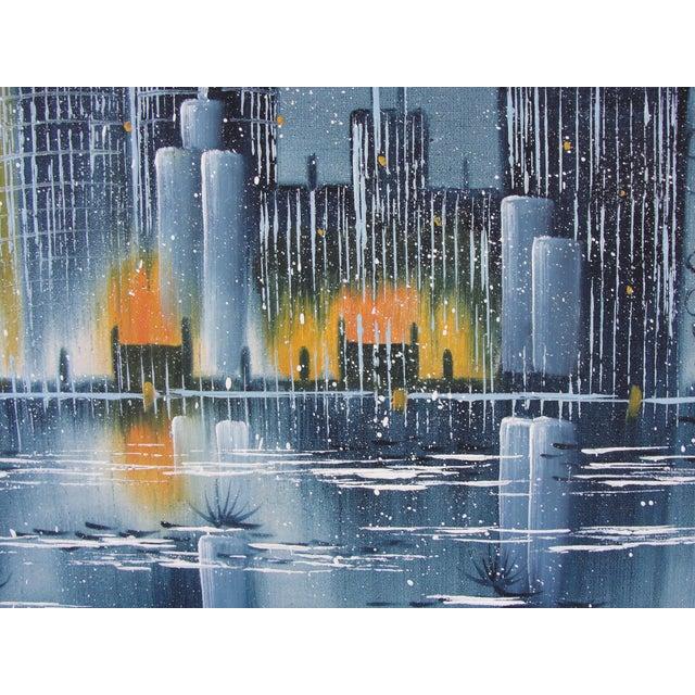 Vintage Mid-Century Night Cityscape Oil Painting - Image 5 of 8