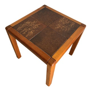 Vintage Gangso Mobler Mid-Century Danish Modern Tile Top Side Table For Sale