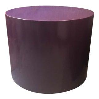 Memphis Purple Lacquer Swivel Pedestal or Side Table For Sale