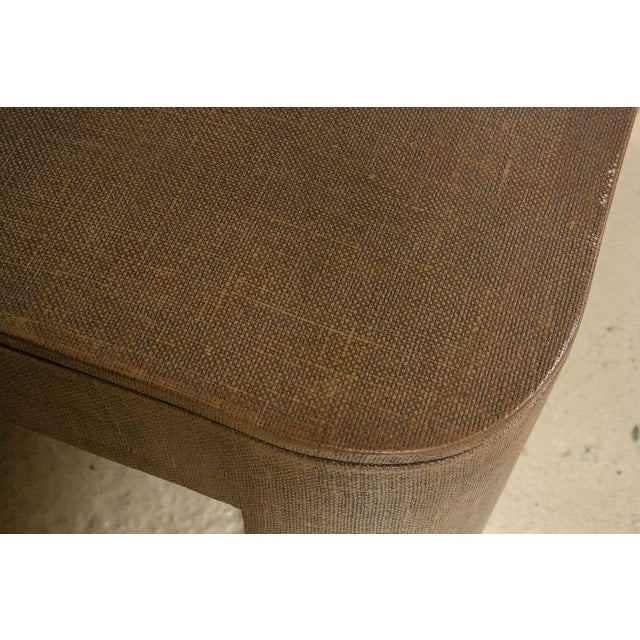 Hollywood Regency Karl Springer Style Linen Coffee Table For Sale - Image 3 of 5