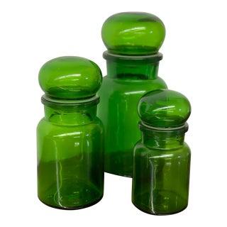 Antique Belgian Glass Jar Set - Set of 3 For Sale