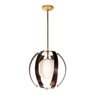 Midcentury Ebonized Walnut, Brass and Opaline Glass Chandelier by Lightolier For Sale