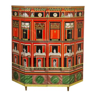 Piero Fornasetti Exceptional Lacquered Encoignure/Corner Cabinet For Sale