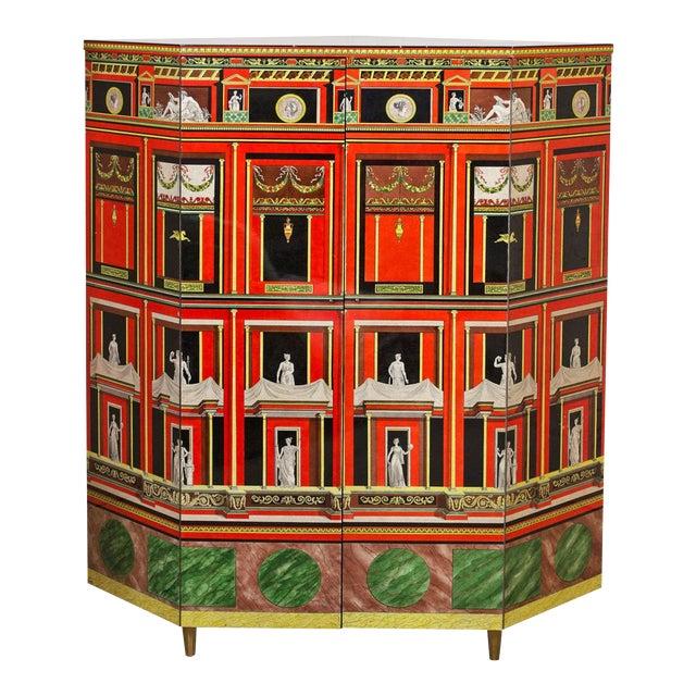 Piero Fornasetti Exceptional Lacquered Encoignure/Corner Cabinet For Sale
