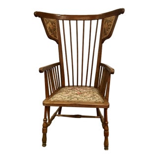 Austrian Walnut Barrel Back Wing Chair For Sale