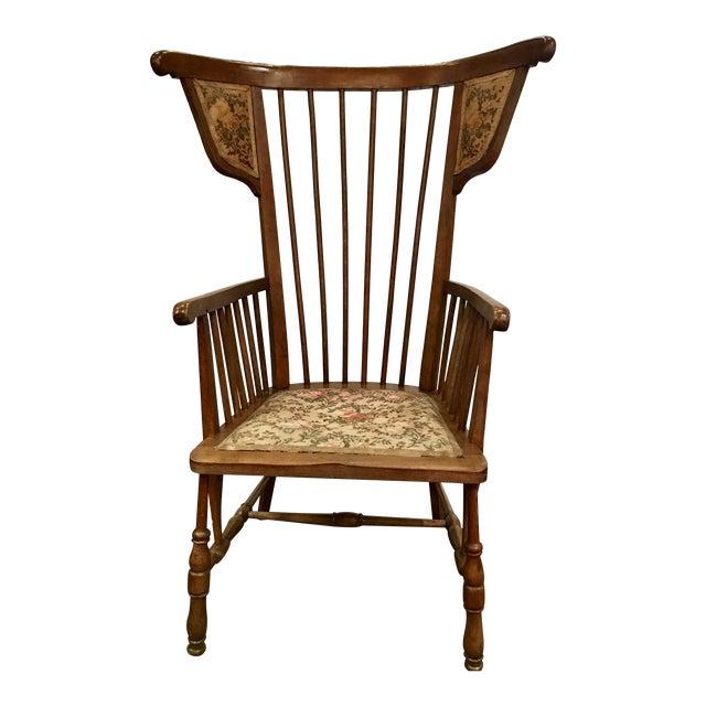 Austrian Walnut Barrel Back Wing Chair For Sale