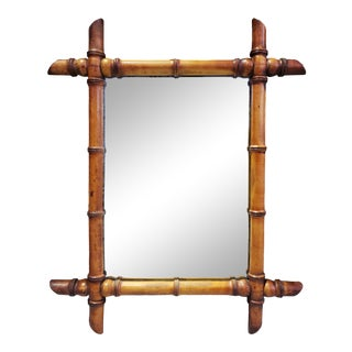 Antique French Faux Bamboo Carved Wood Mirror For Sale