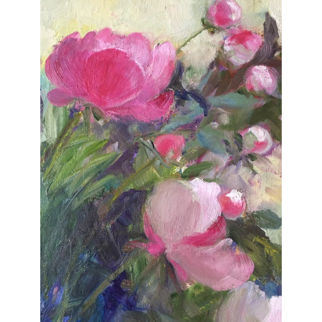 """American """"Peonies"""" Contemporary Plein Air Garden Scene Oil Painting by Marina Movshina, Framed For Sale - Image 3 of 5"""