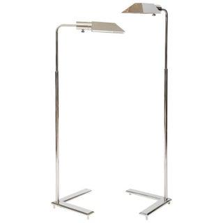 Cedric Hartman Style Chrome Floor Lamps - A Pair For Sale