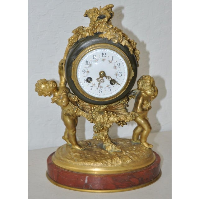 Auguste Moreau Bronze & Marble French Mantle Clock 19th Century Beautiful clock by Auguste Moreau (1834-1917) A lovely...