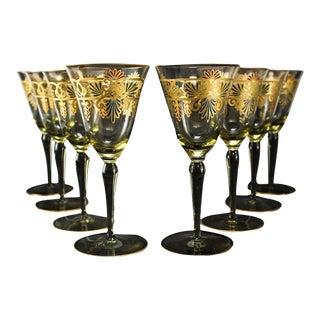 Venetian Amber Art Glass Gilt Water Goblets - Set of 8