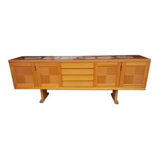 Gangsø Møbler Long Danish Teak Tiled Top Parquet Buffet For Sale