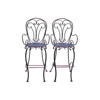 Woodard Scrolled Black Iron Bar Stools - A Pair For Sale