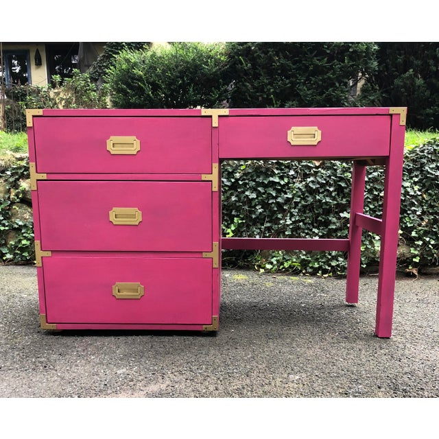Metal Campaign Style Hot Pink and Brass Single Pedestal Desk For Sale - Image 7 of 7