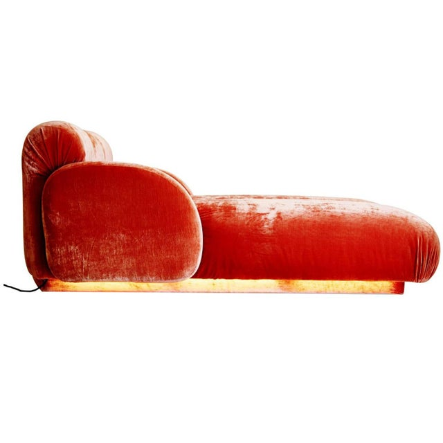 Custom Illuminating Pink Velvet Chaise by Steve Chase From Chase Designed Home For Sale - Image 10 of 10