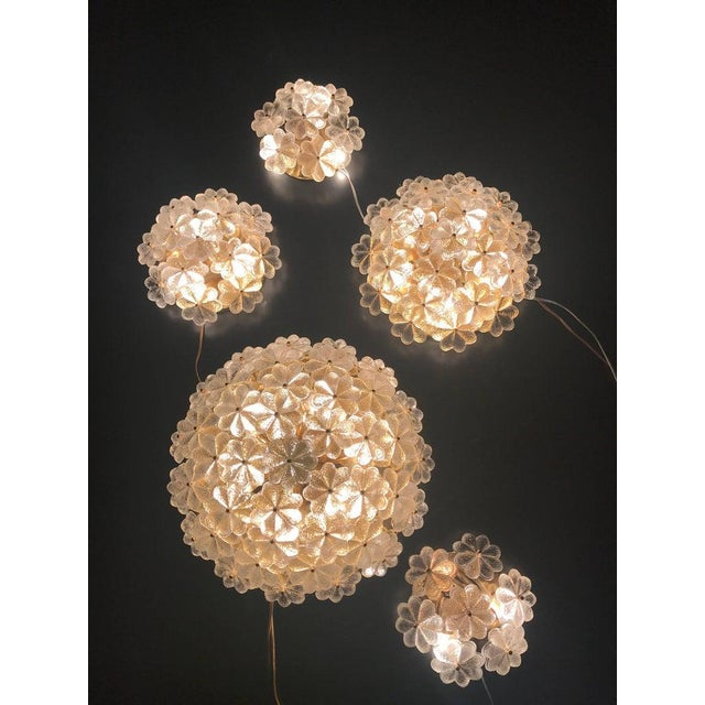 1960s 1960s Small Ernst Palme Floral Glass Flush Mount Sconce For Sale - Image 5 of 6