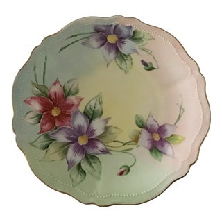 Antique Austrian Hand Painted Floral Scalloped Plate With Beading For Sale