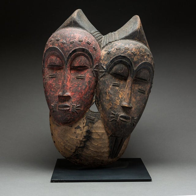 1950s Baule Bicephalous Wooden Mask For Sale - Image 5 of 5